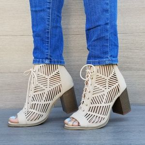 Shoes - Open Toe Laced Up Spring Cut Out Ankle Booties - P